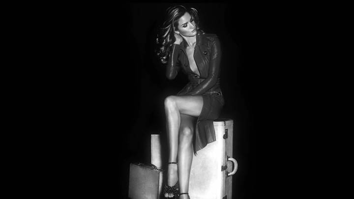 Rosie Huntington-Whiteley Black N White Sitting On Briefcase